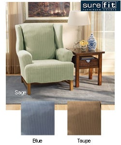 Sure Fit Stretch Stripe Wing-Chair Polyester/Spandex Slipcover