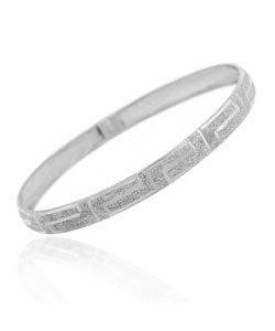 Mondevio Sterling Silver Greek Key Flex Bangle