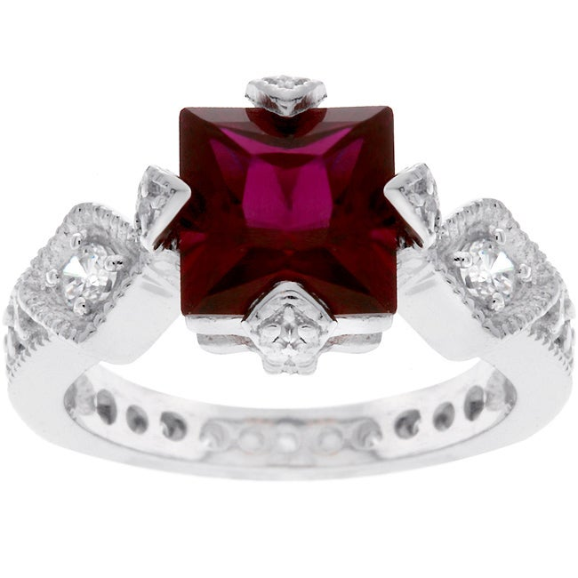 Sterling Silver Princess-cut Red Fashion CZ Ring