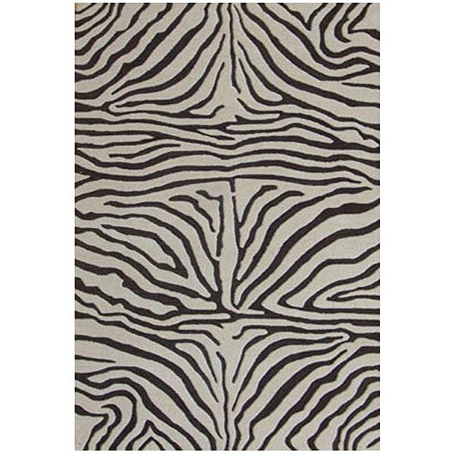 Hand-tufted Brown Zebra Wool Rug (6' Round)