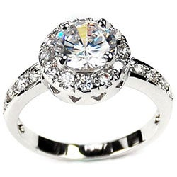 14k White Gold Overlay Solitaire Ring