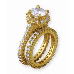 Simon Frank 14k Yellow Gold Overlay Diamoness Bridal Ring Set