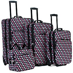 Rockland Pink Heart 4-piece Expandable Luggage Set