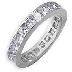 Simon Frank 14k White Gold Overlay Stackable Cubic Zirconia Eternity Band
