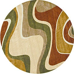Tufted Ackworth Beige/ Rust Area Rug (7'10 Round)