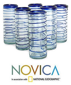 Set of 6 'Cobalt Spiral' Highball Glasses (Mexico)