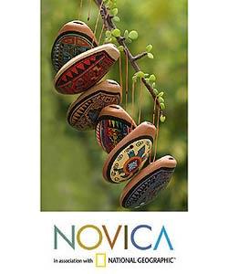 Set of 6 'Andean Whistles' Ceramic Ornaments (Peru)
