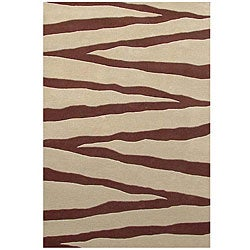 Hand-tufted Zebra Beige Line Wool Rug (8' x 10'6)
