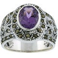 Glitzy Rocks Sterling Silver Marcasite and Genuine Amethyst Ring