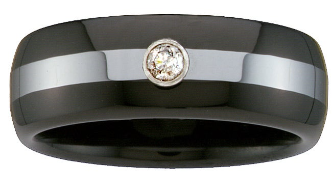 Men's Tungsten Two-tone and Diamond Band (7 mm)