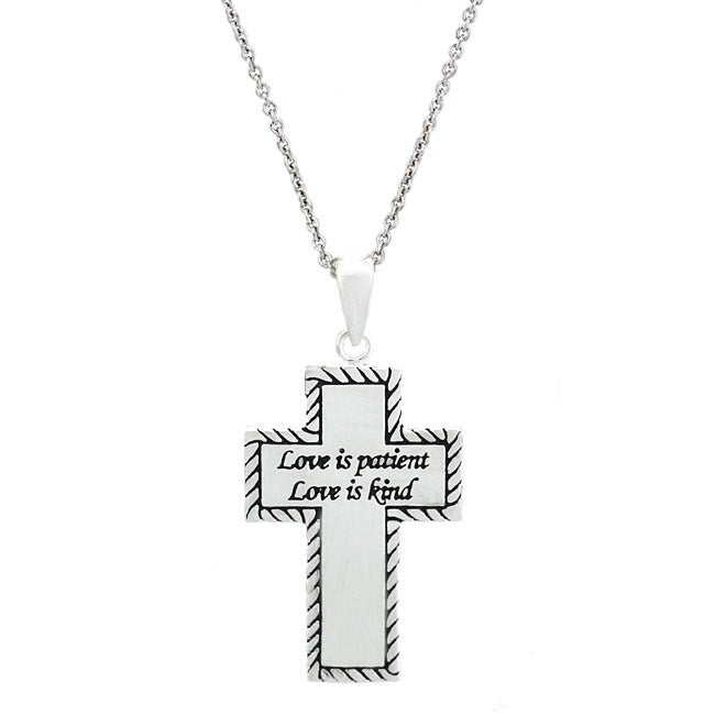 Mondevio Sterling Silver Inspirational Love Cross Necklace