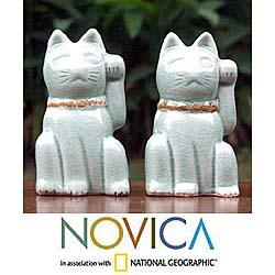Two Celadon Ceramic Statuettes 'Lucky Cats' (Thailand)
