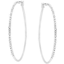Kate Bissett Silvertone Thin Cubic Zirconia Hoop Earrings