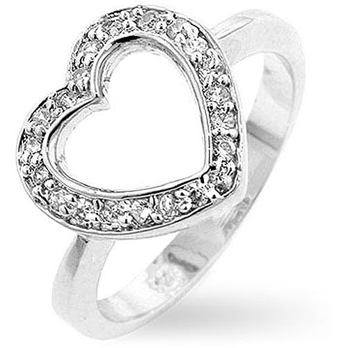 Kate Bissett Sterling Silver Heart Cubic Zirconia Ring