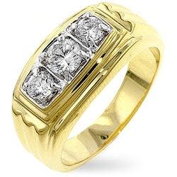 Kate Bissett Men's Goldtone Trinity Cubic Zirconia Ring