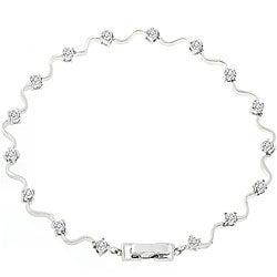 Kate Bissett Silvertone Cubic Zirconia Fashion Bracelet