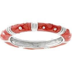 Kate Bissett Silvertone Light Coral Enamel Tribal Design Ring