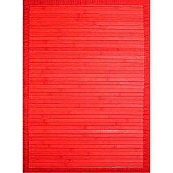Handmade Red Bamboo Rug (5' x 7')