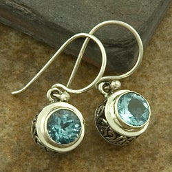 Sterling Silver Blue Topaz Dangle Earrings (Indonesia)