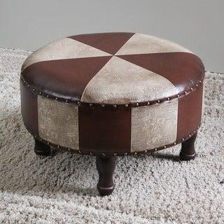 International Caravan Faux-Leather Large Round Stool