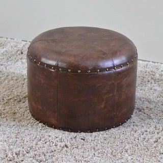 International Caravan Faux Leather Round Mini Stool