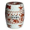 Handmade Red/ White Porcelain Garden Stool (China)