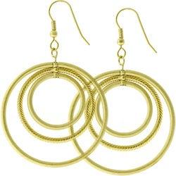 Kate Bissett MattedGoldtone Inscribed Circles Hoop Earrings
