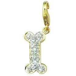14k Yellow Gold 1/10ct TDW Diamond Dog Bone Charm (H-I, I2)