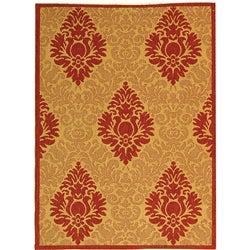 Safavieh Indoor/ Outdoor St. Barts Natural/ Red Rug (2'7 x 5')