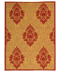 Safavieh Indoor/ Outdoor St. Barts Natural/ Red Rug (4' x 5'7)