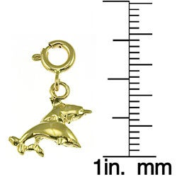 Jumping Dolphins 14k Yellow Gold Charm