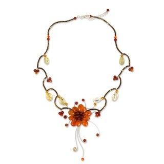 Stainless Steel 'Fire Flower' Gemstone Choker (Thailand)