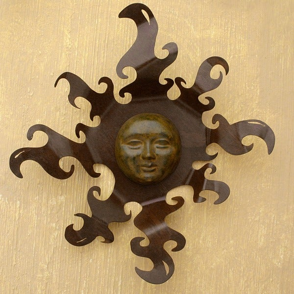 'Sumptuous Sun' Iron and Ceramic Wall Adornment (Mexico)