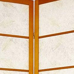 Wood and Rice Paper Botanic 84-inch Shoji Screen (China)