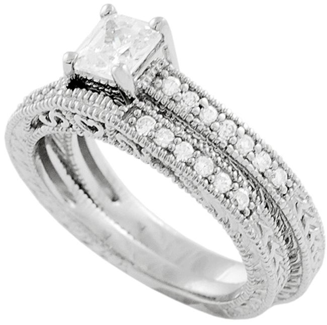 ... Sterling Silver Princess-cut CZ Bridal  Engagement Ring Set
