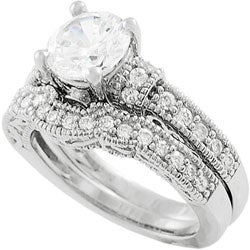 Tressa Collection Sterling Silver Round-cut CZ Highlighted with Bezel-set and Pave-set Round CZs Bridal & Engagement Ring Set