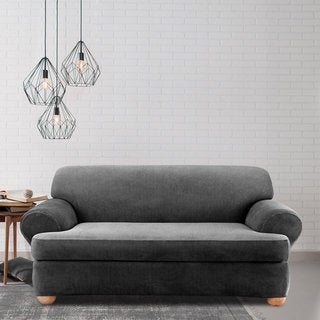 Stretch Stripe 2-piece T-cushion Sofa Slipcover
