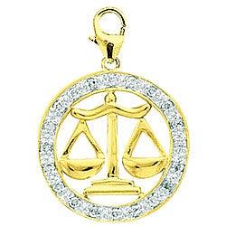 14k Gold 1/10ct TDW Diamond Libra Sign Charm