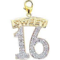 14k Gold 1/10ct TDW Diamond Sweet 16 Charm (H-I-J, I2)