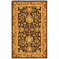 Handmade Kashan Charcoal/ Red Wool Rug (3' x 5')