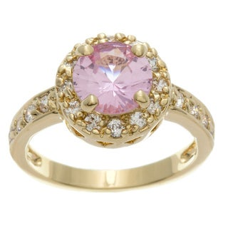 Simon Frank 2.51 Equivalent Diamond Weight 14k Yellow Gold Overlay Pink Halo Set Ring