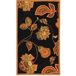 Safavieh Hand-hooked Autumn Leaves Black/ Orange Wool Rug (2'9 x 4'9)