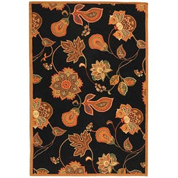 Safavieh Hand-hooked Autumn Leaves Black/ Orange Wool Rug (6' x 9')