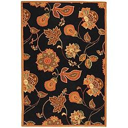 Safavieh Hand-hooked Autumn Leaves Black/ Orange Wool Rug (8'9 x 11'9)