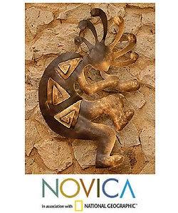 'Kokopelli Peace' Iron Wall Adornment (Mexico)