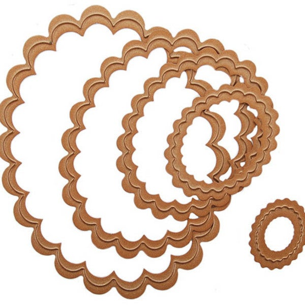 Wizard Nestabilities Scalloped Oval Die Set (Pack of 5)