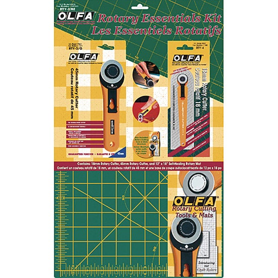 OLFA Rotary Essentials Sewing and Craft Kit with Tools and Brochure
