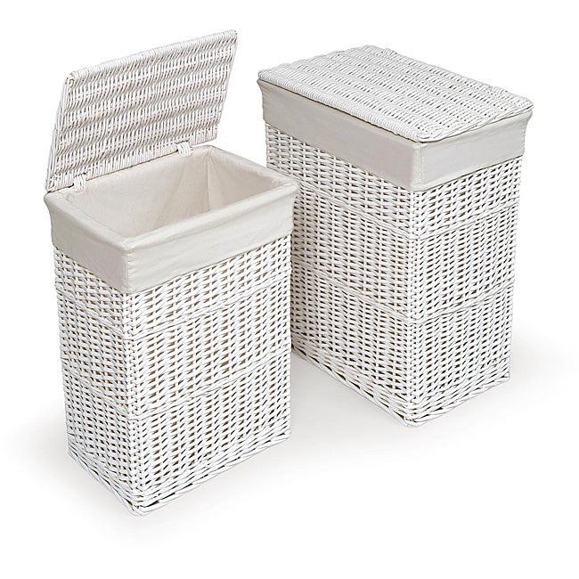 White hamper with liners set of 2 - Wicker laundry basket with liner and lid ...