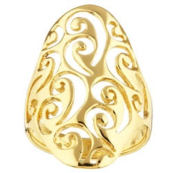 Sterling Essentials 14K Gold over Silver Filigree Cigar Ring