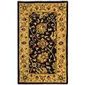 Safavieh Handmade Antiquities Mashad Black/ Ivory Wool Runner (2'3 x 4')